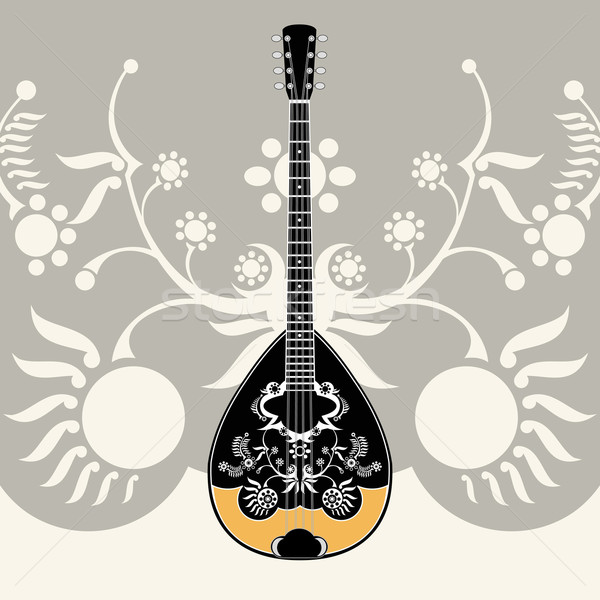 Gestileerde Grieks muziekinstrument decoratief bloemen zon Stockfoto © szsz