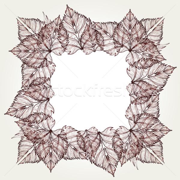 Stockfoto: Bladeren · frame · geïsoleerd · schone · papier