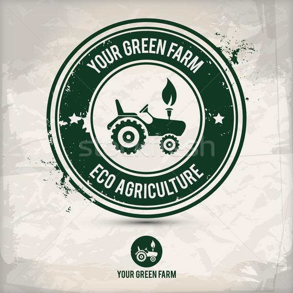 Alternatief groene boerderij stempel verscheidene Stockfoto © szsz