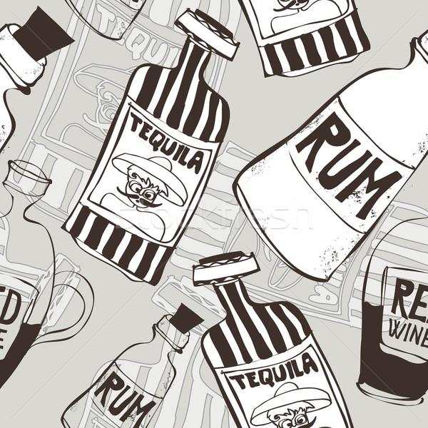 Photo stock: Bouteilles · dessinés · à · la · main · tequila · rhum · vin