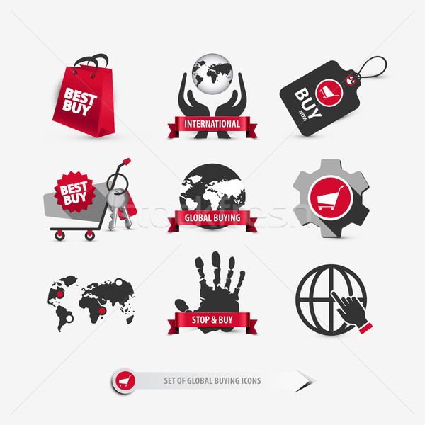 Mondial achat icônes internationaux Photo stock © szsz