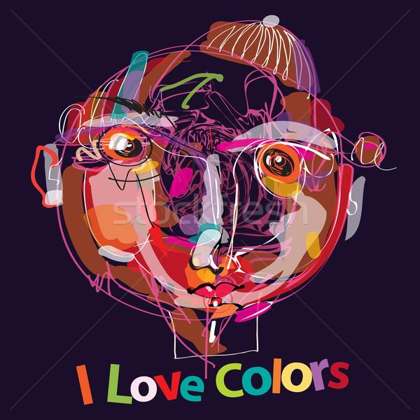Liefde kleuren kleurrijk kid portret abstract Stockfoto © szsz