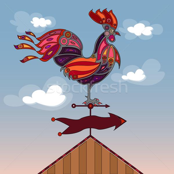 Gallo rosso rosa arancione colorato stilizzato Foto d'archivio © szsz