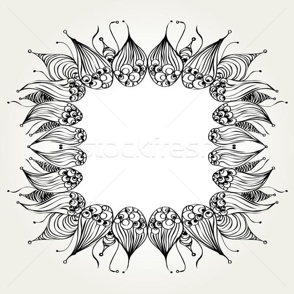 Dessinés à la main cadre décoratif espace texture feuille Photo stock © szsz