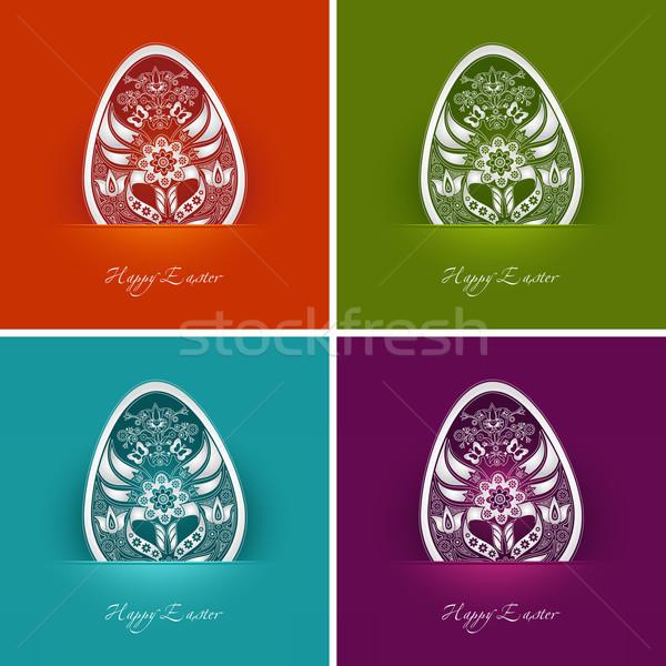 пасхальное яйцо Этикетки четыре декоративный различный цветами Сток-фото © szsz