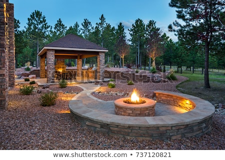 Stone patio with fire pit Stock photo © jsnover