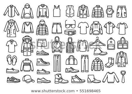 férfi · divat · ruházat · ikonok · vektor · ikon · gyűjtemény - stock fotó © stoyanh