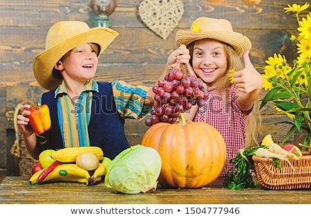 Piccolo ragazzo ragazza indossare cappello da cowboy blu Foto d'archivio © fanfo