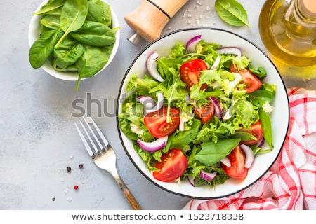 Zöld saláta közelkép tányér üveg vacsora Stock fotó © shyshka