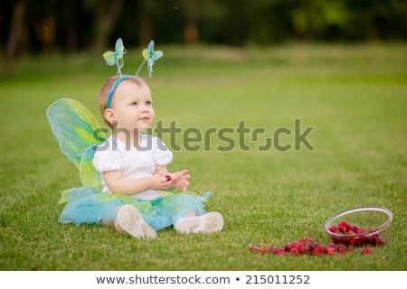 melek · küçük · kız · kanatlar · çocuklar · çiçekler · taç - stok fotoğraf © lunamarina
