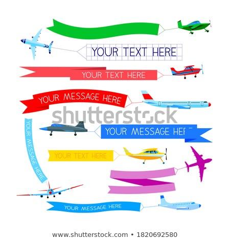 vliegen · vliegtuigen · banner · hemel · wolken · ruimte - stockfoto © timbrk