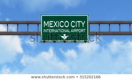 Mexikóváros autópálya tábla zöld felhő utca felirat Stock fotó © kbuntu
