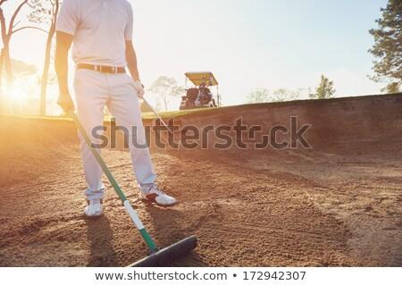 Hark zand golfbaan voorjaar gras golf Stockfoto © Hofmeester