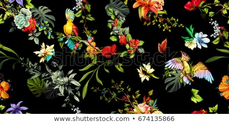 Stock photo: abstract flower with parrot & bird