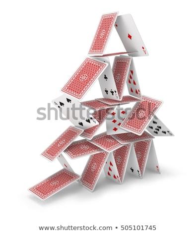 casa · cartões · acima · azul · vermelho · preto - foto stock © leeser