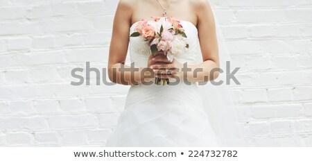 hermosa · novia · flores · pie · ventana - foto stock © pilgrimego