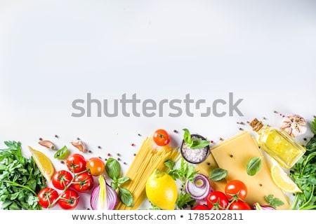 Italian basil, tomatoes garlic and pasta Stock photo © aelice