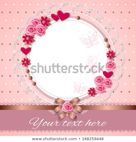 heart greeting card template with ribbon and bow stock photo © hermione