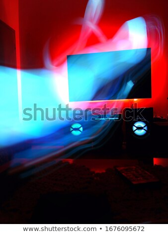 3D TV. Burning car on TV screen. Stock photo © Misha