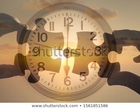 tempo · trabalho · em · equipe · relógio · branco · palavras · trabalhar - foto stock © devon