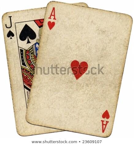 Blackjack vintage sujo cartões isolado branco Foto stock © latent