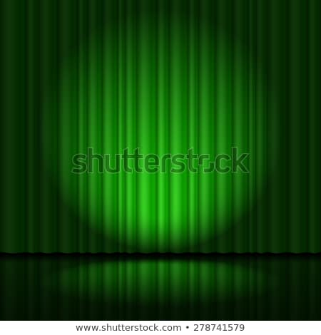 Stage with green curtain and spotlight great, heart-shaped Stock photo © dvarg