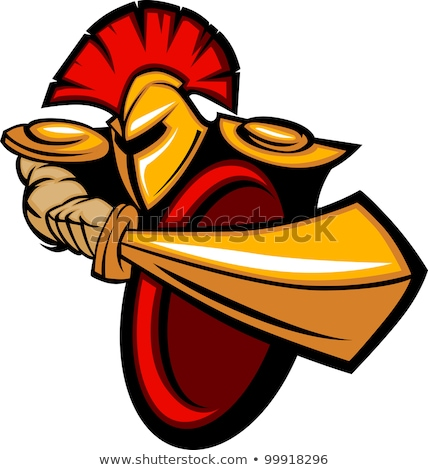 Greek Trojan or Roman Soldier Mascot Holding a Shield and Sword Stock photo © chromaco