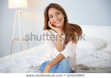 moda · portre · genç · zarif · kadın · yatak - stok fotoğraf © stryjek