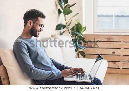 portret · knap · jonge · man · werken · laptop · freelance - stockfoto © hasloo
