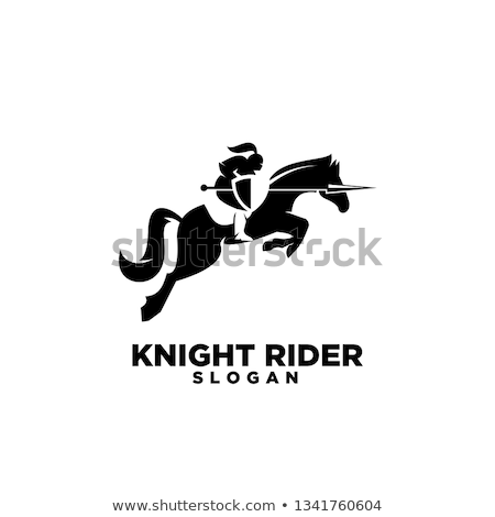 Stock photo: Jousting Knight vector silhouette Mascot on Horse