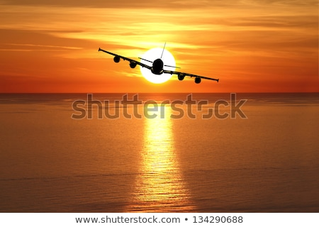 Jet plane over the sea at dusk Stock photo © moses