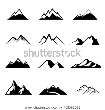 Snowy mountains or hills icons set isolated on white Stock photo © lordalea