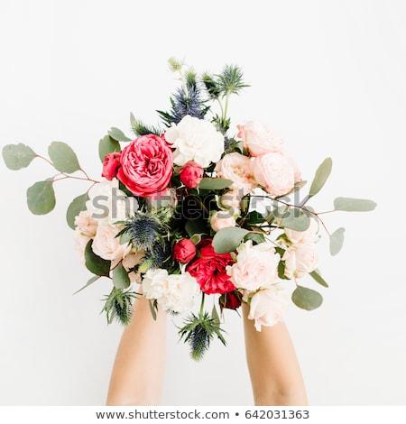 mooie · vrouwelijke · rode · rozen · boeket · Valentijn - stockfoto © anna_om