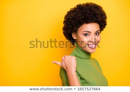 Photo stock: Ethniques · jeune · femme · pointant · doigt · enthousiaste · asian