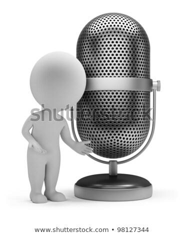 Stock fotó: 3d Small People - Retro Microphone