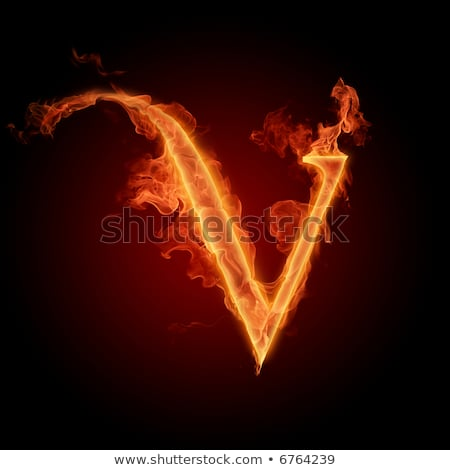 Fiery font. Letter V Stock photo © dvarg