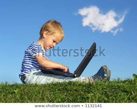 Stock photo: child with notebook sit blue sky with cloud