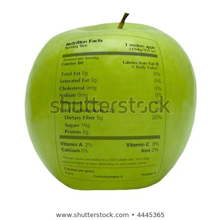 Voedzaam appel gezondheid feiten label vruchten Stockfoto © stuartmiles