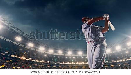 béisbol · jugador · de · béisbol · toma · swing · primavera · diversión - foto stock © stevemc