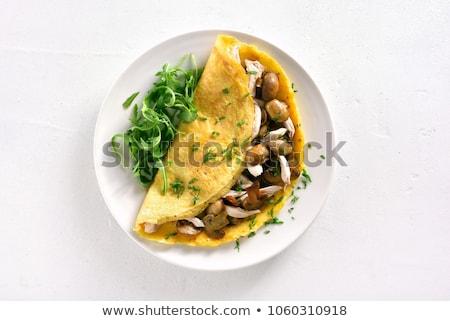 ízletes gomba sajt vacsora tojások tányér Stock fotó © M-studio