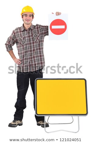 Happy worker diverting traffic Stock photo © photography33