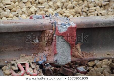 Vasút kötődés fém rozsdás építkezés nyár Stock fotó © AGorohov
