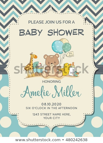 baby boy welcome card with teddy bear stock photo © balasoiu