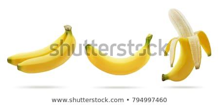 Foto d'archivio: Tre · banane · isolato · bianco · sfondo · pelle