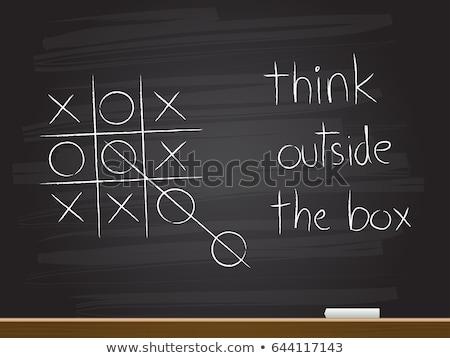 Zdjęcia stock: Zdaniem · na · zewnątrz · polu · kredy · tablicy