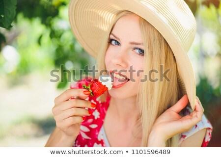 Szőke nő lédús eper krém portré izolált Stock fotó © pekour