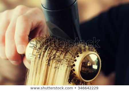 mooie · blond · haardroger · portret · mooie · vrouw - stockfoto © dmitri_gromov