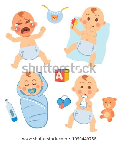 Chłopca butelki niebieski portret młodych biały Zdjęcia stock © photography33