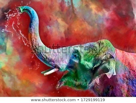 fil · toprak · bebek · sirk · dengeleme · dünya · gezegeni - stok fotoğraf © elenarts