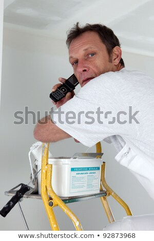 Painting speaking on the telephone from top of ladder Stock photo © photography33